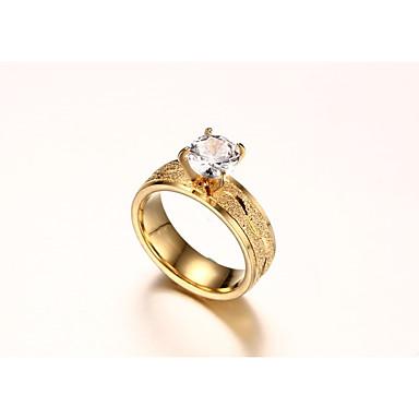 Pentru femei Zirconiu Cubic Auriu Band Ring - Circle Shape Modă stil minimalist Auriu Inel Pentru Nuntă Logodnă Ceremonie Serată