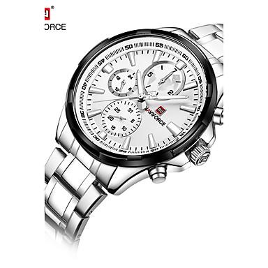 NAVIFORCE Heren Dress horloge Modieus horloge Japans Kwarts Waterbestendig Roestvrij staal Band Luxe Cool Zilver