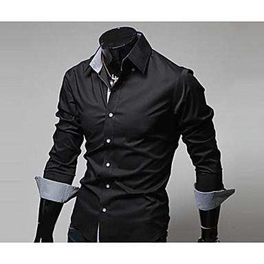 economico Abbigliamento uomo-Camicia Per uomo Ufficio Lavoro / Moda città Tinta unita Colletto classico - Cotone Blu marino US34 / Manica lunga / Taglia piccola