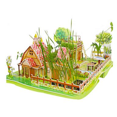 قطع تركيب3D تركيب ألعاب البناء ألعاب بناء مشهور بيت معمارية 3D خشب الخشب الطبيعي للجنسين قطع