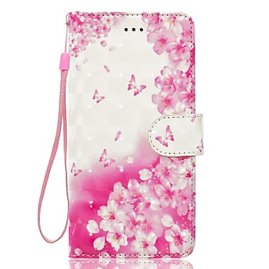 Caz pentru iphone 7 plus 7 3d efect floare fluture model interior bandă diagramă pu material portofel secțiune caz telefon 6 plus 6s 5 se