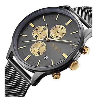 a5af3a591a6 baratos Relógios em Oferta-Homens Relógio de Pulso Japanês Quartzo Aço  Inoxidável Preta   Prata