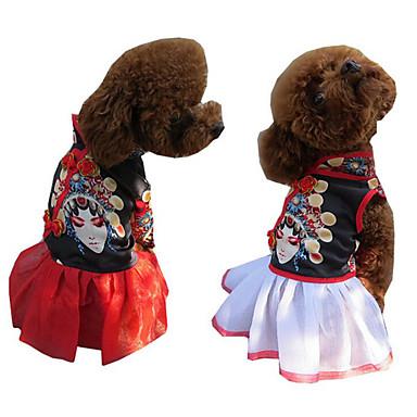 Câine Rochii Îmbrăcăminte Câini Brodată Alb Rosu Șifon Costume Pentru animale de companie Bărbați Pentru femei Casul/Zilnic