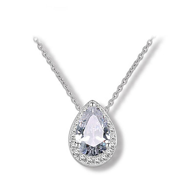 povoljno Modne ogrlice-Žene Dijamant Kubični Zirconia Ogrlice s privjeskom Kruška Ispustiti dame Moda Legura Zlato Pink Rose Gold Ogrlice Jewelry Za Vjenčanje Party