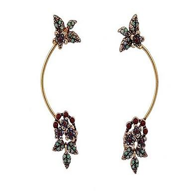 للمرأة أقراط الزر مخصص قديم موضة المتضخم سبيكة Flower Shape Leaf Shape مجوهرات مجوهرات من أجل الغير يوميا ذهاب للخارج