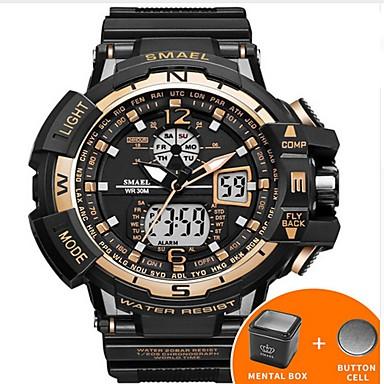 levne Pánské-SMAEL Pánské Digitální hodinky Navy Seal Watch japonština Silikon Černá 50 m Voděodolné Kalendář kreativita Analog - Digitál Luxus Na běžné nošení Skládaný Elegantní - Stříbrná Zelená Modrá / Svítící