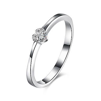 Pentru femei Zirconiu Cubic Plastic Inimă - De Bază Argintiu Inel Pentru Nuntă / Petrecere / Logodnă
