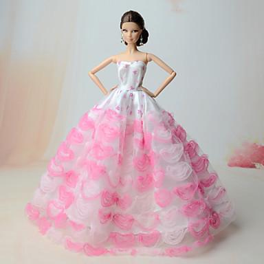 الفساتين فساتين إلى الدمية باربي الكتان / القطن مزيج ستان/تول فستان إلى لفتاة دمية لعبة