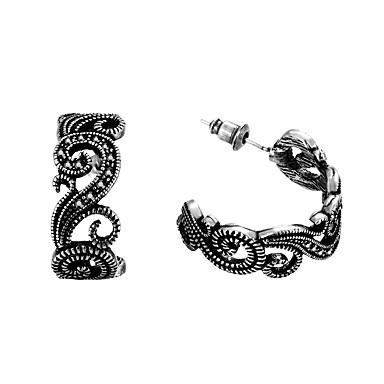 Dames Verzilverd Ring oorbellen - Modieus Zwart Zilver oorbellen Voor Bruiloft Feest Dagelijks Causaal Toimisto & ura