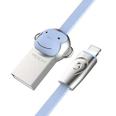ROCK USB 2.0 Kabel, USB 2.0 to Lightning Kabel Mannelijk - Mannelijk 1.0m (3Ft)