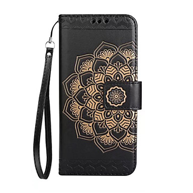 Maska Pentru Apple iPhone X iPhone X iPhone 8 iPhone 8 Plus Titluar Card Portofel Întoarce Model Embosat Carcasă Telefon Mandala Floare