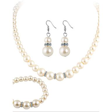 Pentru femei Ștras, Imitație de Perle Set bijuterii Lănțișor - Cristal, Imitație de Perle, Ștras Alb