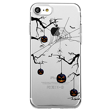 voordelige iPhone 5 hoesjes-hoesje Voor iPhone 7 / iPhone 7 Plus / iPhone 6s Plus iPhone 8 Plus / iPhone 8 / iPhone SE / 5s Transparant / Patroon Achterkant Cartoon / Boom / Halloween Zacht TPU
