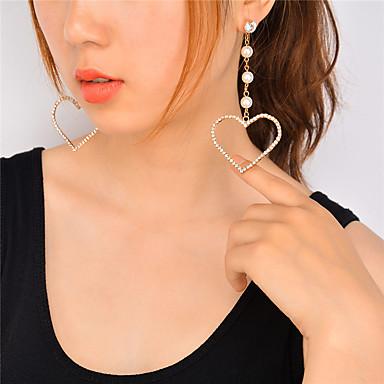 Pentru femei Cercei Dangle - Imitație de Perle, Ștras Inimă Personalizat, Stil Atârnat, Modă Auriu / Argintiu Pentru Petrecere / Seară / Evenimente / Petrecere / Ieșire