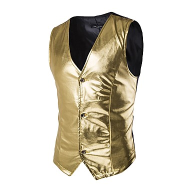 Men's Party / Going out Summer / Fall Regular Vest, Solid Colored V Neck Sleeveless Cotton Gold / Black / Silver M / L / XL / Slim