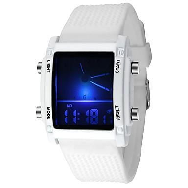 ieftine Ceasuri Damă-Bărbați femei Ceas Sport Ceas Militar  Ceas digital Quartz Silicon Cauciuc Negru / Alb 30 m Rezistent la Apă Calendar Cronograf Analog - Digital Casual - Negru Alb / Oțel inoxidabil / LED / Iluminat