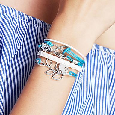 Women's Layered Charm Bracelet / Wrap Bracelet / Leather Bracelet - Leather Bird, Leaf, Owl Personalized, Basic, Fashion Bracelet Pale Pink / Blue / Light Green For Gift / Daily / Casual