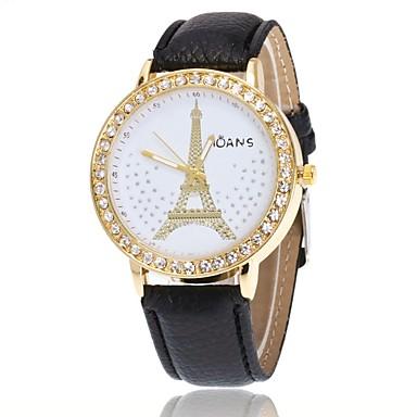 Pentru femei Quartz Simulat Diamant Ceas Ceas de Mână Chineză cald Vânzare PU Bandă Charm Casual Turnul Eiffel Ceas Elegant Elegant Negru