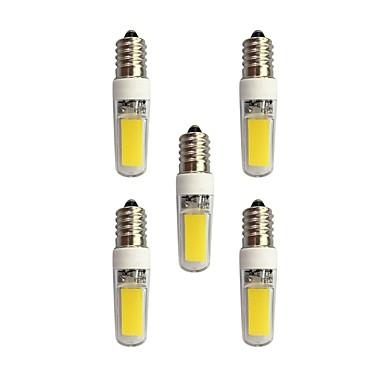 5pcs 3W 240 lm E14 Becuri LED Bi-pin T 2 led-uri COB Alb Cald Alb AC 220-240V