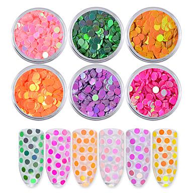 6pcs aurora rundă ultrathin paiete unghie art glitter sfaturi unicorn colorat manichiura 3d decor unghii DIY accesorii