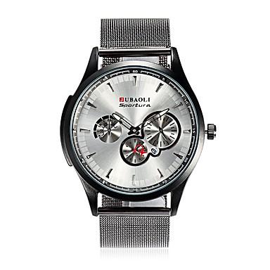 JUBAOLI Bărbați Quartz Ceas de Mână Chineză Calendar Mare Dial Oțel inoxidabil Aliaj Bandă Modă Cool Negru