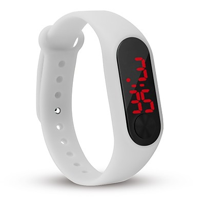 yy l8007 bărbați femeie a condus data de ceas roșu dreptunghi digital forma bandă de cauciuc