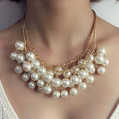 Pentru femei Coliere cu Pandativ / Coliere - Imitație de Perle Declarație, Lux Alb Coliere Pentru Nuntă, Serată