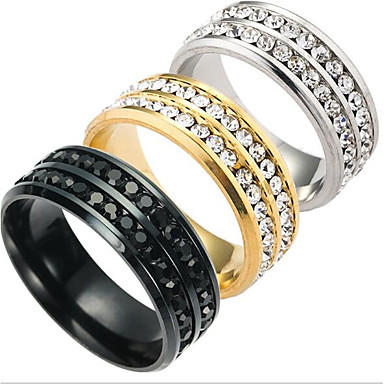 Men's Band Ring - Titanium Steel Fashion 6 / 7 / 8 Gold / Black / Silver For Daily