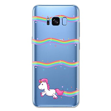 Недорогие Чехлы и кейсы для Galaxy S6 Edge-Кейс для Назначение SSamsung Galaxy S8 Plus / S8 / S7 edge С узором Кейс на заднюю панель единорогом / Животное / Мультипликация Мягкий ТПУ