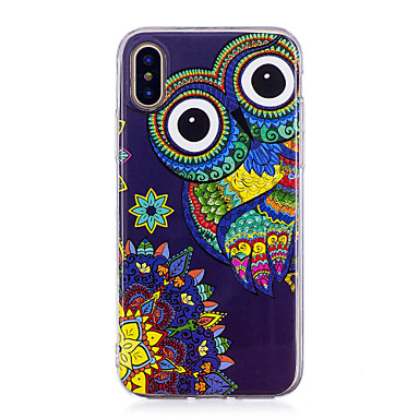 Case For Apple iPhone X / iPhone 8 Plus Glow in the Dark / IMD / Pattern Back Cover Owl Soft TPU for iPhone X / iPhone 8 Plus / iPhone 8