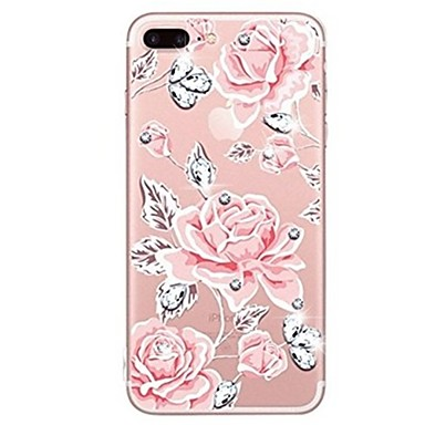 Coque Pour iPhone X iPhone 8 Strass Transparente Motif Coque Arrière Fleur Flexible TPU pour iPhone X iPhone 8 Plus iPhone 8 iPhone 7