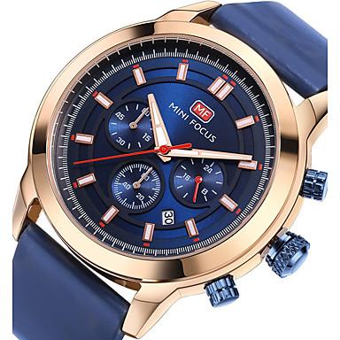 זול שעוני גברים-בגדי ריקוד גברים שעוני ספורט שעון יד Japanese קווארץ עור אמיתי שחור / כחול 30 m לוח שנה שעון עצר זוהר בחושך אנלוגי פאר יום יומי אופנתי - לבן שחור כחול