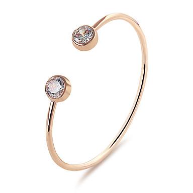 Femme Manchettes Bracelets Cristal Classique Mode Style Simple Alliage Rond Goutte Bijoux Soirée Anniversaire Cadeau Quotidien Rendez-vous