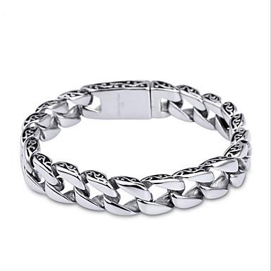 voordelige Heren Armband-Heren Armbanden met ketting en sluiting Uniek ontwerp Eenvoudige Stijl Modieus Roestvast staal Armband sieraden Zilver Voor Kerstcadeaus Dagelijks Causaal