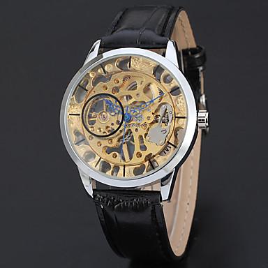저렴한 남성용 시계-WINNER 남성용 스켈레톤 시계 손목 시계 메카니컬 메뉴얼-윈딩 가죽 블랙 30 m 중공 판화 멋진 아날로그 클래식 빈티지 캐쥬얼 패션 - 화이트 옐로우 골드 / 실버 / 스테인레스 스틸