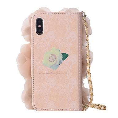 supporto di X Porta Integrale iPhone Con portafoglio Plus iPhone pelle Resistente decorativo 8 sintetica 8 iPhone X 8 Fiore Custodia credito per A iPhone te Fai da Apple Per 06346375 iPhone carte wt7vOq