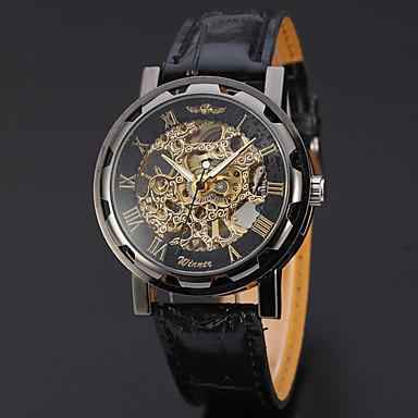 levne Pánské-WINNER Pánské Náramkové hodinky mechanické hodinky Automatické natahování Kůže Černá 30 m S dutým gravírováním Analogové Luxus Klasické Na běžné nošení - Černá / Stříbrná Bílá / Stříbrná Zlato