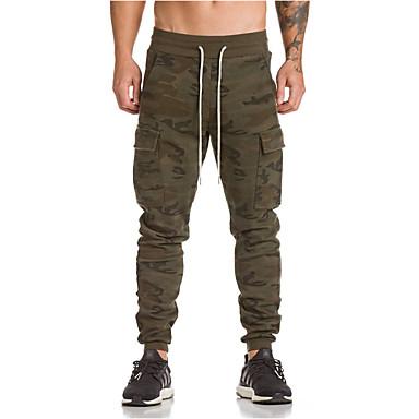 billige Herrers Mode Beklædning-Herre Militær Plusstørrelser Bomuld Tynd Joggingbukser / Lastbukser Bukser - camouflage Sort / Sport / Weekend