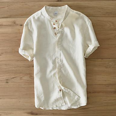 economico Abbigliamento uomo-Camicia Per uomo Stoffe orientali Basic, Tinta unita Colletto Mao - Lino Bianco XL / Manica corta / Estate / Taglia piccola
