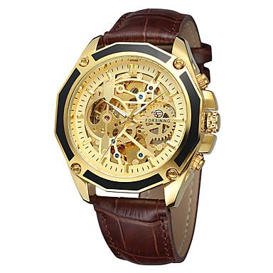 저렴한 남성용 시계-FORSINING 남성용 캐쥬얼 시계 패션 시계 스켈레톤 시계 오토메틱 셀프-윈딩 천연 가죽 블랙 / 브라운 30 m 캐쥬얼 시계 멋진 아날로그 캐쥬얼 - 블랙 / 실버 화이트 / 골드 화이트 / 베이지