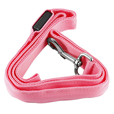 Dog Leash LED Lights Safety Solid Nylon Yellow Red Green Blue Pink
