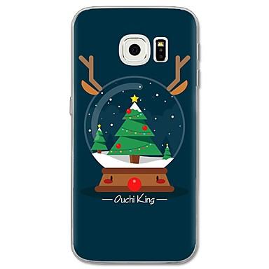 Недорогие Чехлы и кейсы для Galaxy S6 Edge-Кейс для Назначение SSamsung Galaxy S8 Plus / S8 / S7 edge С узором Кейс на заднюю панель дерево / Рождество Мягкий ТПУ