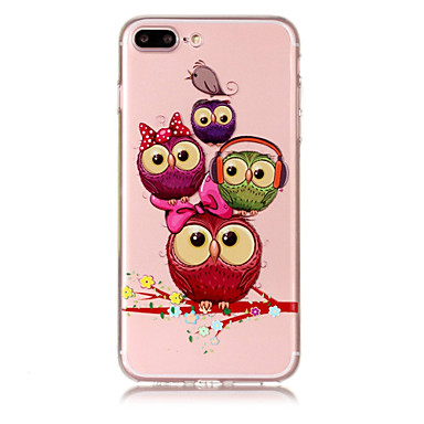 Capinha Para Apple iPhone X / iPhone 8 Plus Transparente / Estampada Capa traseira Corujas Macia TPU para iPhone X / iPhone 8 Plus / iPhone 8