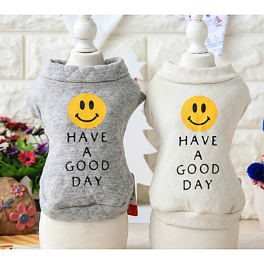 Dog Sweatshirt Dog Clothes Casual/Daily Print White Gray Costume For Pets
