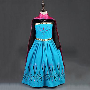 Prințesă DinBasme Anna Rochii Manta Pentru copii Fete Rochii Șal Crăciun Halloween Mascaradă Festival / Sărbătoare Mătase / Amestec bumbac Rosu Costume de Carnaval Bloc Culoare Adorabil