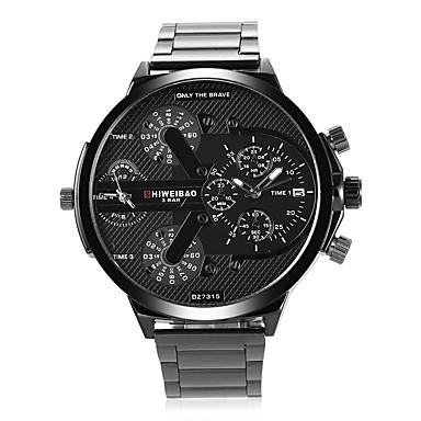 f41d33f243c SHI WEI BAO Homens Relógio de Moda Relógio de Pulso Quartzo Aço Inoxidável  Preta Calendário Dois ...