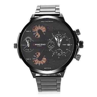 levne Pánské-SHI WEI BAO Pánské Módní hodinky Náramkové hodinky Křemenný Velkoformátové Nerez Černá Kalendář Hodinky s dvojitým časem Velký ciferník Analogové Na běžné nošení - Zelená Modrá Černá / Růžové zlato