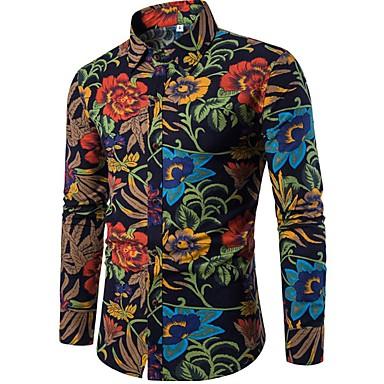 billige Herrers Mode Beklædning-Stående krave Herre - Blomstret Hør Boheme / Kineseri Natklub Skjorte Sort XXXL / Langærmet
