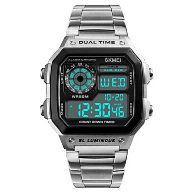 Недорогие Часы на металлическом ремешке-Муж. Спортивные часы Наручные часы Нержавеющая сталь Японский Цифровой Нержавеющая сталь Черный / Серебристый металл 50 m Защита от влаги Будильник Календарь Цифровой На каждый день - / Один год