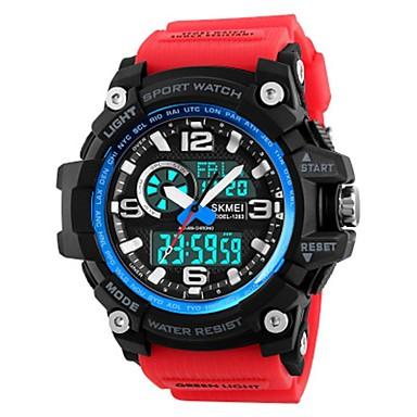 זול שעוני גברים-SKMEI בגדי ריקוד גברים שעוני ספורט שעונים צבאיים שעון דיגיטלי Japanese דיגיטלי דמוי עור מרופד שחור / אדום / חאקי 50 m עמיד במים לוח שנה שעון עצר אנלוגי-דיגיטלי פאר יום יומי - / זוהר בחושך